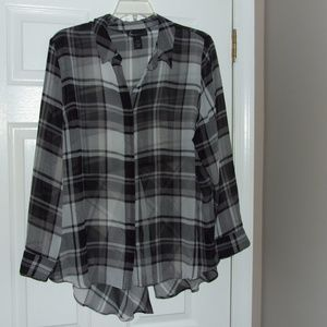 Lane Bryant Plaid Split Tail Sheer Button-Up 22/24